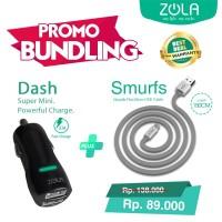 Bundling ZOLA Dash Car Charger + Kabel Data Micro USB ZOLA Smurf 150cm