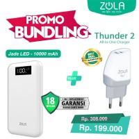 Bundling Powerbank ZOLA Jade LED 10000mAh + USB Charger Thunder2