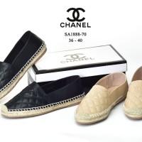 Sepatu Chanel Espadrilles CC Quilted Leather Semi Premium SA1888
