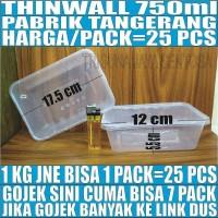 Thinwall 750 ml food container box tempat kotak makan plastik murah