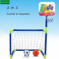 Mainan Gawang Bola dan Ring Basket 2in1 Doraemon