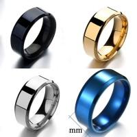 Cincin Titanium Polos Black Hitam Rose Gold Silver Biru - BR314