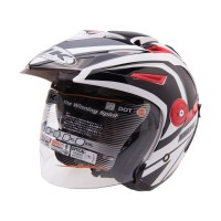 INK T1-1 WH/RD Helm Open Face