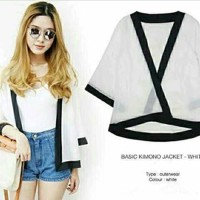 baju gaun dress wanita cewe KW 422 kimono cardigan white kerja kantor