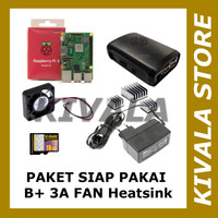 Paket Siap Pakai Raspberry Pi 3 Plus Full Fan Heatsink - Adaptor 3A