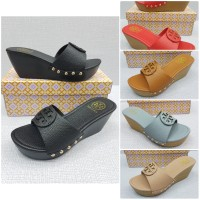 Sandal Wanita Tory Wedges Leather / Sandal Fashion / Sandal Hak Wedges