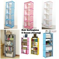 Rak Buku Serbaguna 5 Susun (4 Ruang) Multifungsi Rumah Tangga
