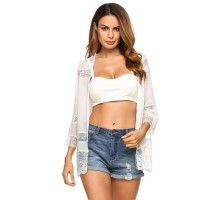 Women 3/4 Sleeve Open Front Lace Chiffon Summer Beach Cardigan