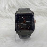 Jam Tangan Pria/Cowok Swiss Army Petak Black + Bonus Tali Kulit