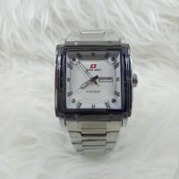 Jam Tangan Pria/Cowok Swiss Army Petak Silver + Bonus Tali Kulit