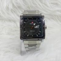 Jam Tangan Pria/Cowok Swiss Army Petak Silver Black + Bonus Tali Kulit