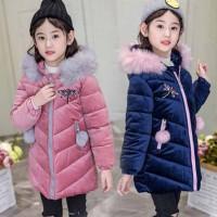 SWD bayi Girls Faux Fur Hooded Long Padded Coat Puffer Berkualitas