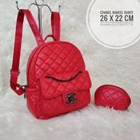 Tas Wanita Branded Murah Chanel Ransel Backpack Tas Sekolah Merah