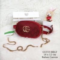 Tas Wanita Murah Gucci Belt Canvas Merah