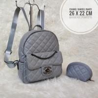 Tas Wanita Branded Murah Chanel Ransel Backpack Tas Sekolah Rante Grey