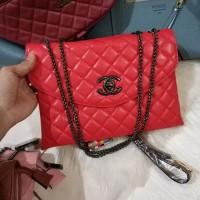 Clearance Sale Tas Wanita Murah Chanel Clutch (2 Ruang) Merah