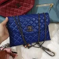 Clearance Sale Tas Wanita Murah Chanel Clutch (2 Ruang) Biru