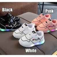Sepatu Lampu LED Olahraga Anak TK Model Jaring Fila Strap