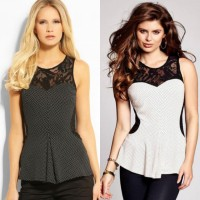 GUESS Lace Peplum Blouse Wanita Baju Atasan Cewek Branded - 3 Motif