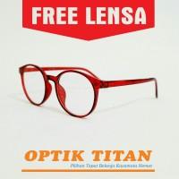Harga frame kacamata minus baca pria wanita lentur 0002 merah | antitipu.com