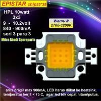 HPL 10W/High Power LED 10 Watt Sorot 3*3 Warm White Epistar 35