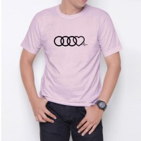 Kaos T-Shirt Distro Soft Pink AUDI HEART BEAT W6198