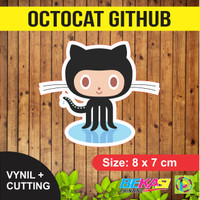 Sticker Octocat Github | Stiker Vinyl + Cutting 8 x 7 cm