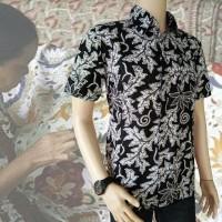 Baju Kemeja Batik Pria Lengan Pendek Hitam Putih