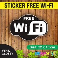 Sticker FREE WIFI / Wi-Fi Vynil Waterproof Ukuran 22 x 15 cm