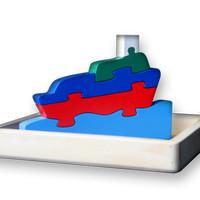 mainan kayu edukasi - puzzle satuan 3D Perahu (Tanpa bingkai)