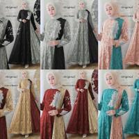 Maxi Gamis Dress Pesta Hijab Brukat Glitter Tessaes fit XL (REAL PICT)