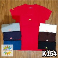 T154 - Kaos Sport Tee   T-Shirt Wanita   Cewek Adidas Segitiga LT f25ed885ad