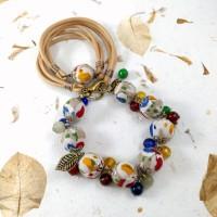 Harga kalung 2in1 gelang batik cap tulis etnik charm manik batu | Pembandingharga.com