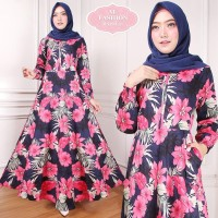 Maxi Raisa Flower (21) Baju Muslim Wanita Gamis Model Kekinian Terbaru