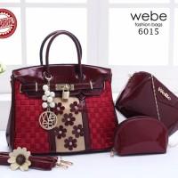 tas wanita model sekarang WEBE Birkin Flora Paris 3in1 impor murah