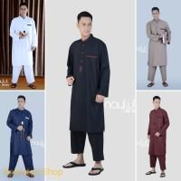 Setelan Gamis Pria Modern ST024 / Jubah Pria Muslim Baju Koko Panjang