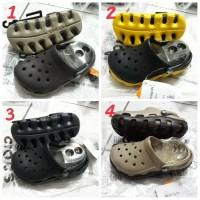 SALE/Sepatu Crocs anak/Crocs duet sport kids-hitam tapak kuning
