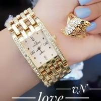 jam tangan wanita plus cincin lapis emas 1408