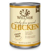 Wellness 95% Chicken GrainFree Canned Dog Food, 13.2-oz Topper Anjing
