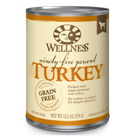Wellness 95% Turkey Grain-Free Canned Dog Food, 13.2-oz Topper Anjing