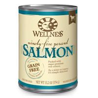 Wellness 95% Salmon Grain-Free Canned Dog Food, 13.2-oz Topper Anjing