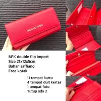Grosir dompet wanita branded cewek murah, MK Double Flip Wallet Import