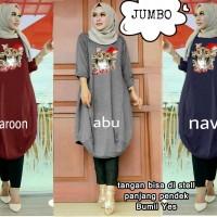 53389 owl jumbo tunic/baju tunik jumbo/atasan muslim bigsize murah
