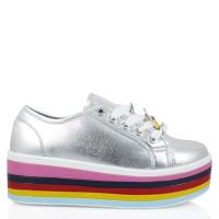 Jual Sepatu Bolzano-289 Rainbow Wedges Sneakers GOSH Silver Murah e403400591