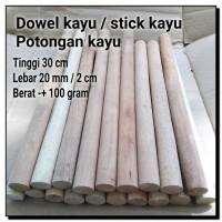 Termurah Dowel potongan kayu tinggi 30 cm wooden stick bahan craft