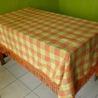 Taplak Meja Makan Tenun Kursi 6 Orange Kuning