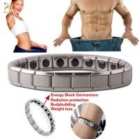 Gelang Tangan Rantai Magnet Warna Silver Untuk Kesehatan Pria Wanita
