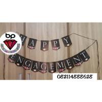 Banner happy Engagement / Bunting flag engagement hitam bunga