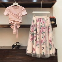 Tops Vintage Floral Skirt Sets