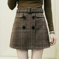 Women High Waist Plaid Tweed Skirt with Button Retro Vinatge